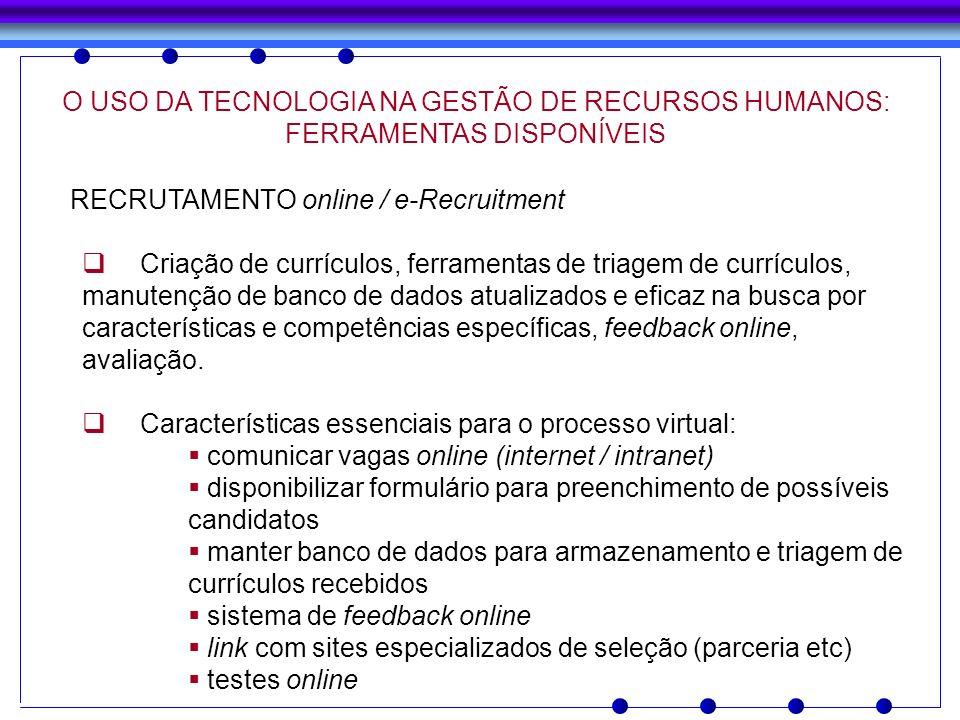 O USO DA TECNOLOGIA NA GESTÃO DE RECURSOS HUMANOS: FERRAMENTAS DISPONÍVEIS