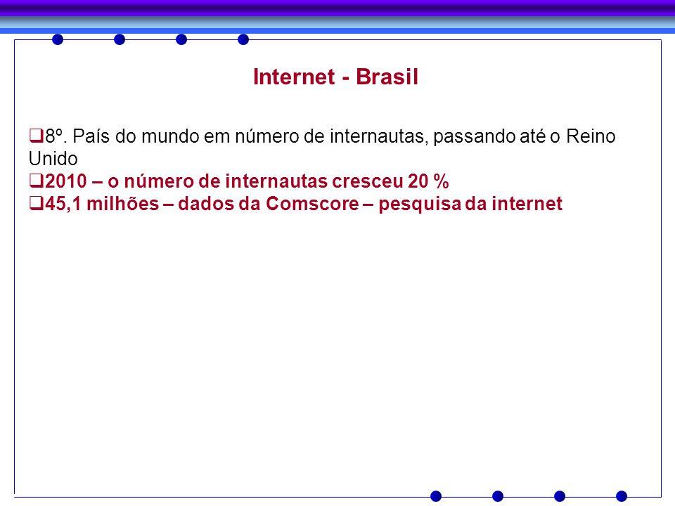 Internet - Brasil8º. País do mundo em número de internautas, passando até o Reino Unido. 2010 – o número de internautas cresceu 20 %