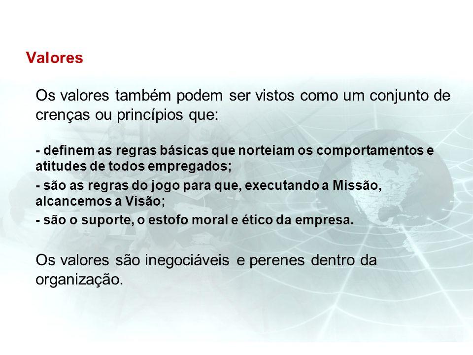 Os valores são inegociáveis e perenes dentro da organização.
