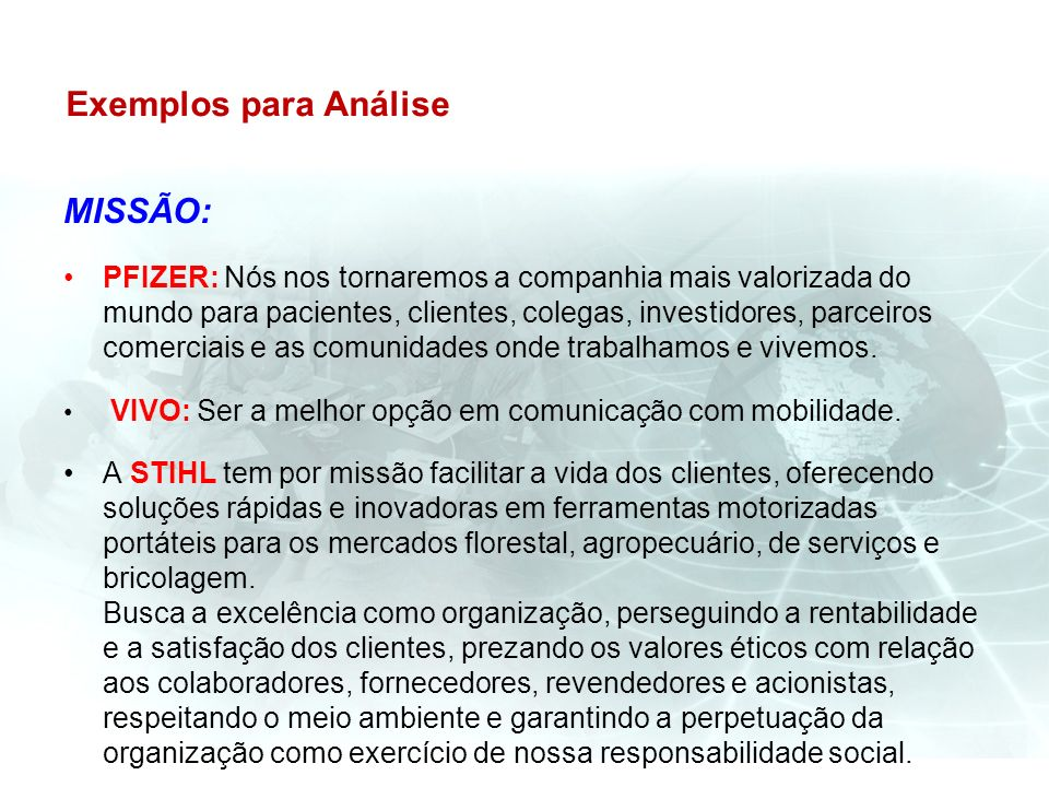 Exemplos para Análise MISSÃO: