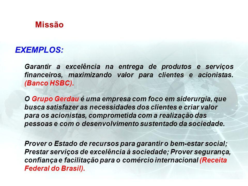 Missão EXEMPLOS: Garantir a excelência na entrega de produtos e serviços financeiros, maximizando valor para clientes e acionistas. (Banco HSBC).