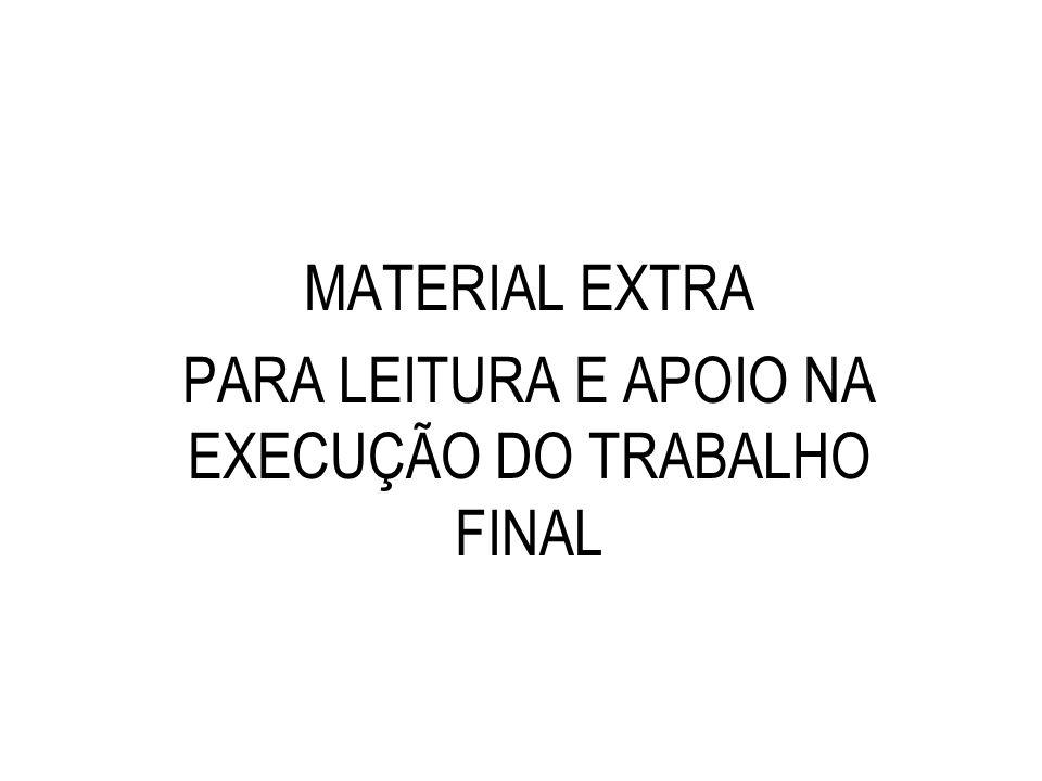 PARA LEITURA E APOIO NA EXECUÇÃO DO TRABALHO FINAL
