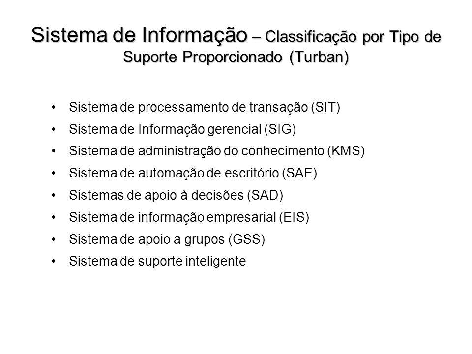Sistema de Informação – Classificação por Tipo de Suporte Proporcionado (Turban)