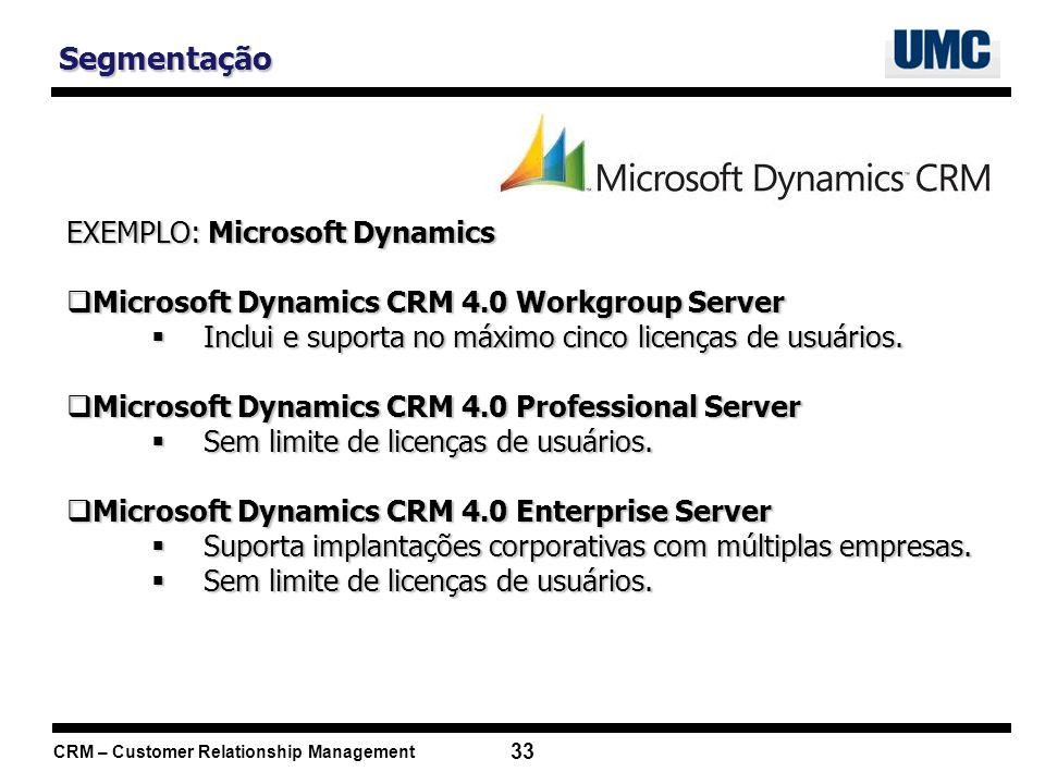 Segmentação EXEMPLO: Microsoft Dynamics