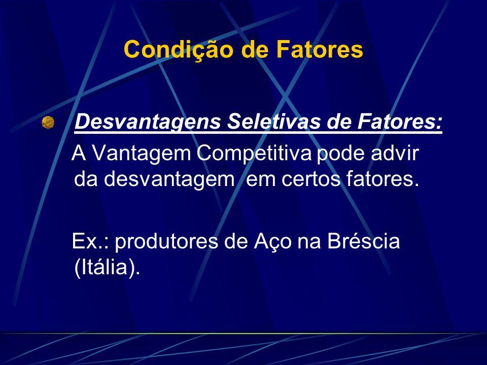 Condição de Fatores Desvantagens Seletivas de Fatores: