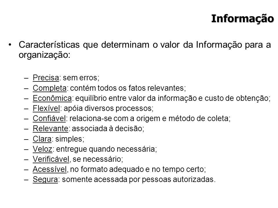 Informação Características que determinam o valor da Informação para a organização: Precisa: sem erros;
