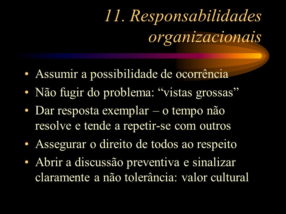 11. Responsabilidades organizacionais
