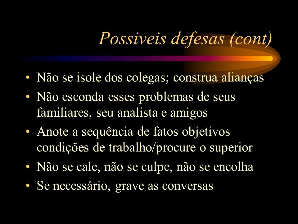 Possiveis defesas (cont)