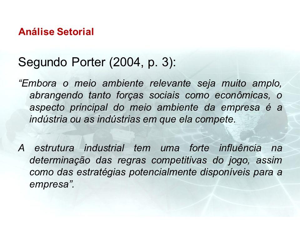 Segundo Porter (2004, p. 3): Análise Setorial