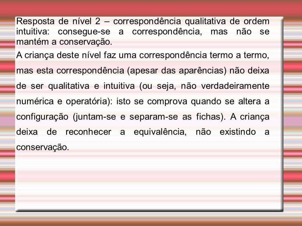 Resposta de nível 2 – correspondência qualitativa de ordem intuitiva: consegue-se a correspondência, mas não se mantém a conservação.