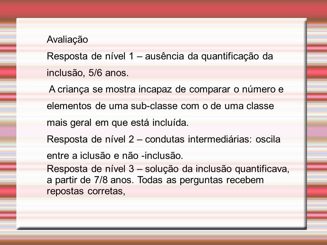 Avaliação Resposta de nível 1 – ausência da quantificação da inclusão, 5/6 anos.