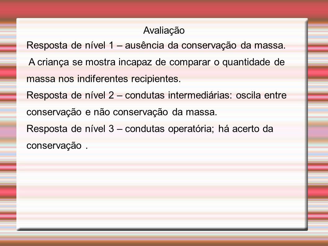 Avaliação Resposta de nível 1 – ausência da conservação da massa.