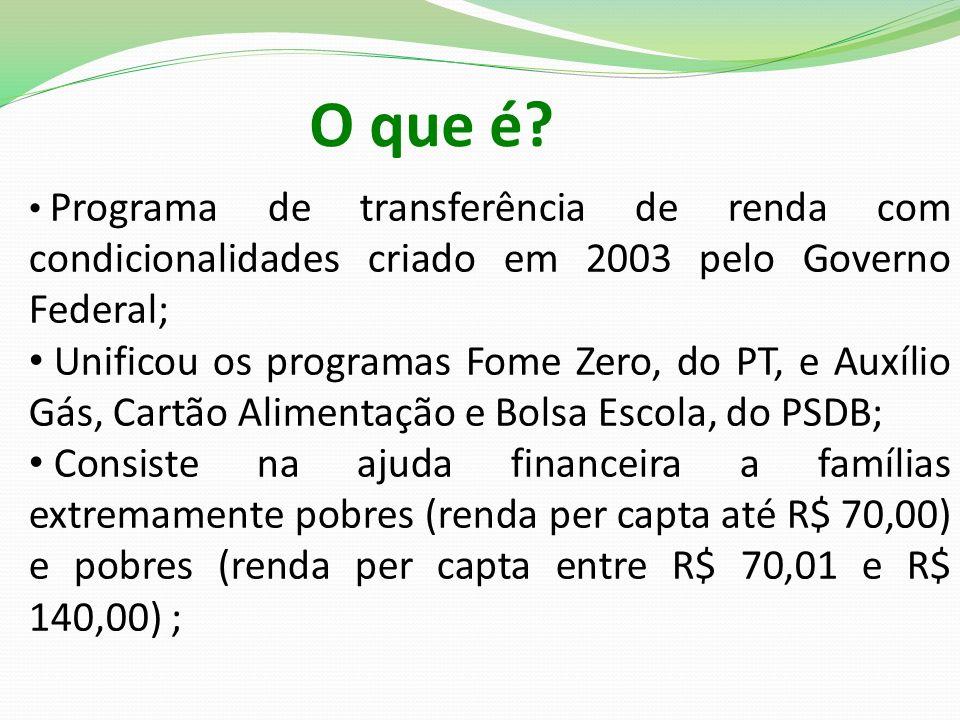 O que é Programa de transferência de renda com condicionalidades criado em 2003 pelo Governo Federal;