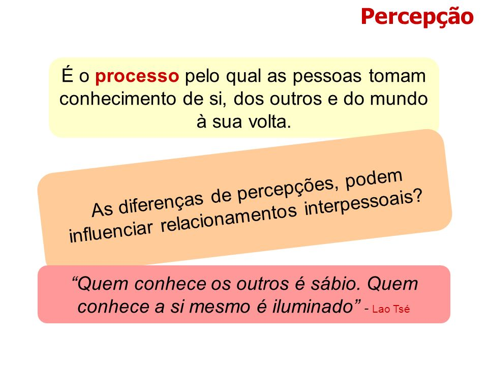 Percepção É o processo pelo qual as pessoas tomam conhecimento de si, dos outros e do mundo à sua volta.