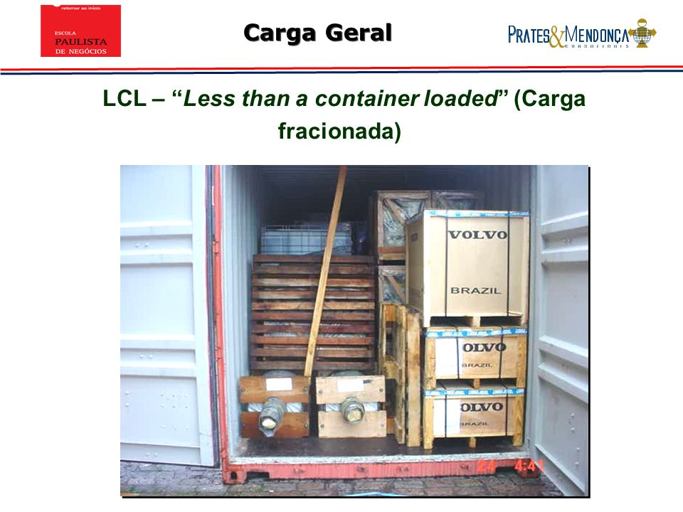 LCL – Less than a container loaded (Carga fracionada)