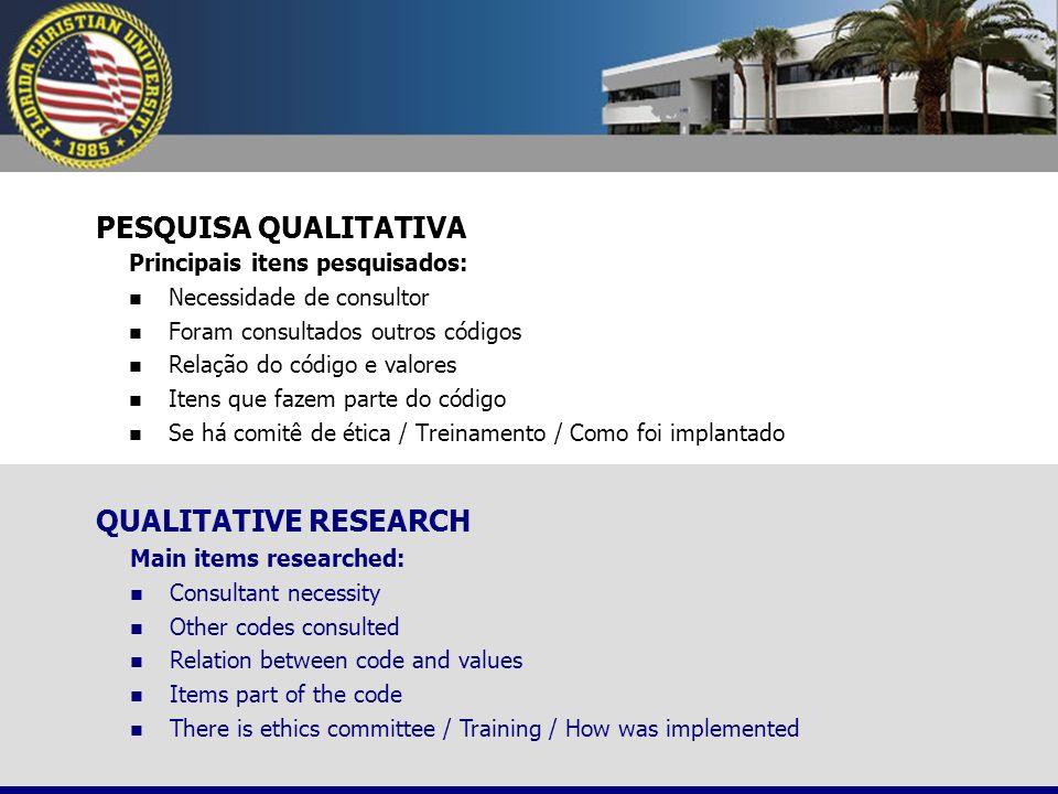 PESQUISA QUALITATIVA QUALITATIVE RESEARCH