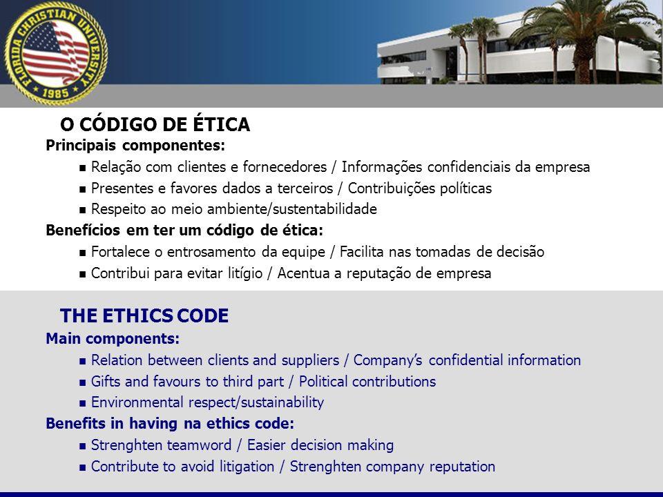 O CÓDIGO DE ÉTICA THE ETHICS CODE Principais componentes: