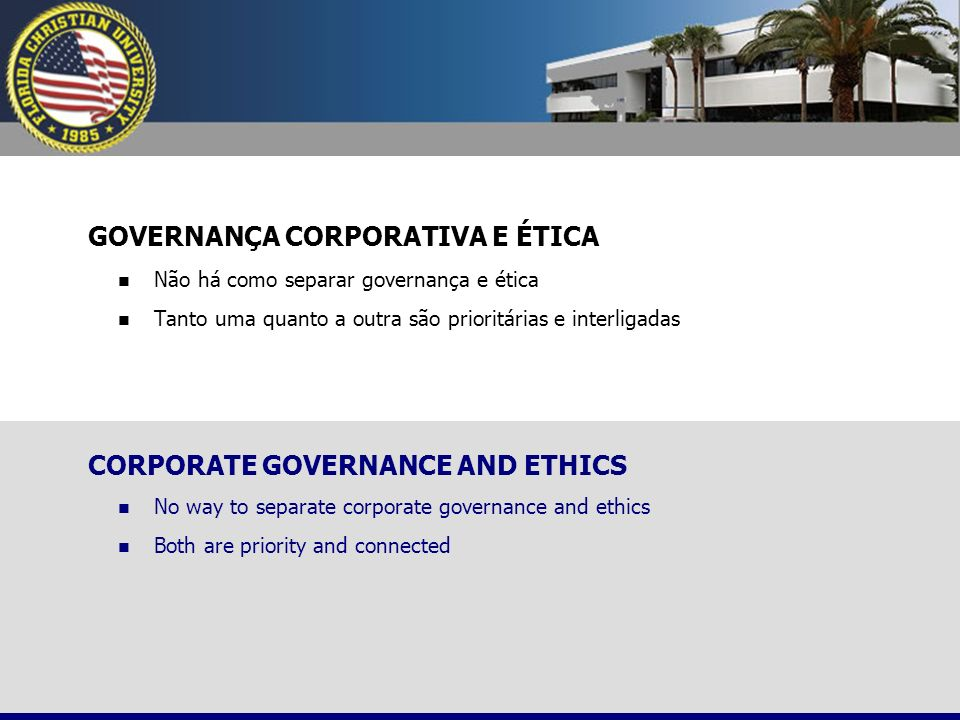GOVERNANÇA CORPORATIVA E ÉTICA