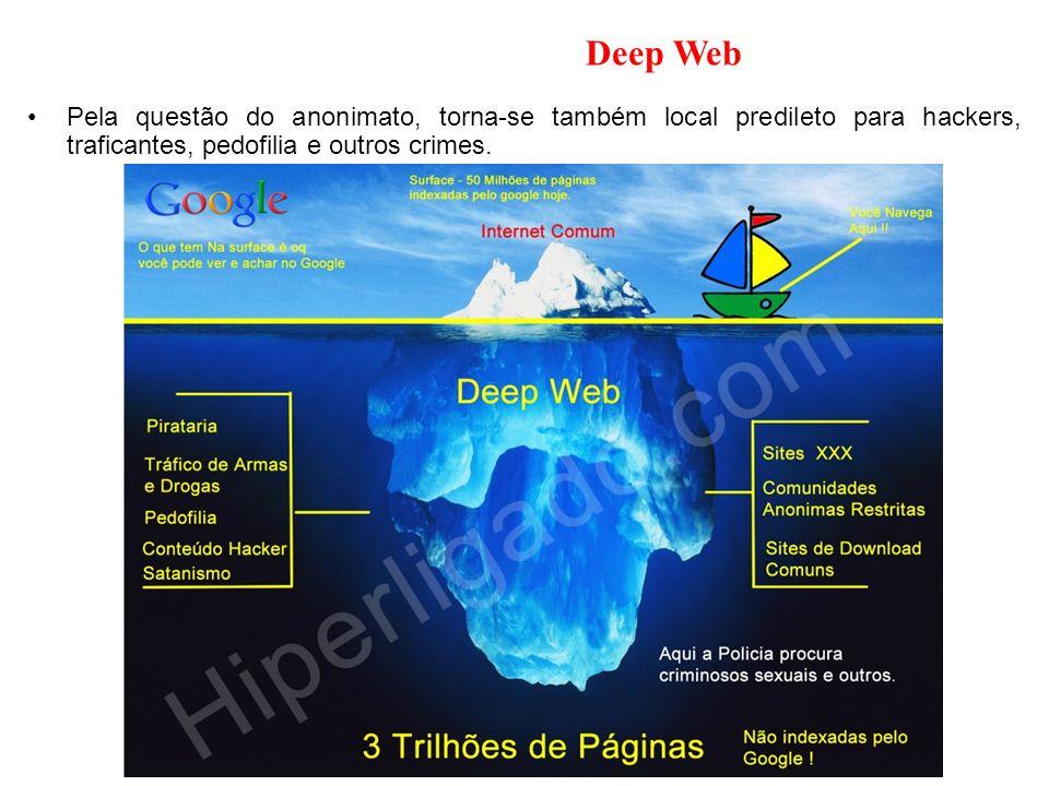Deep Web Pela questão do anonimato, torna-se também local predileto para hackers, traficantes, pedofilia e outros crimes.