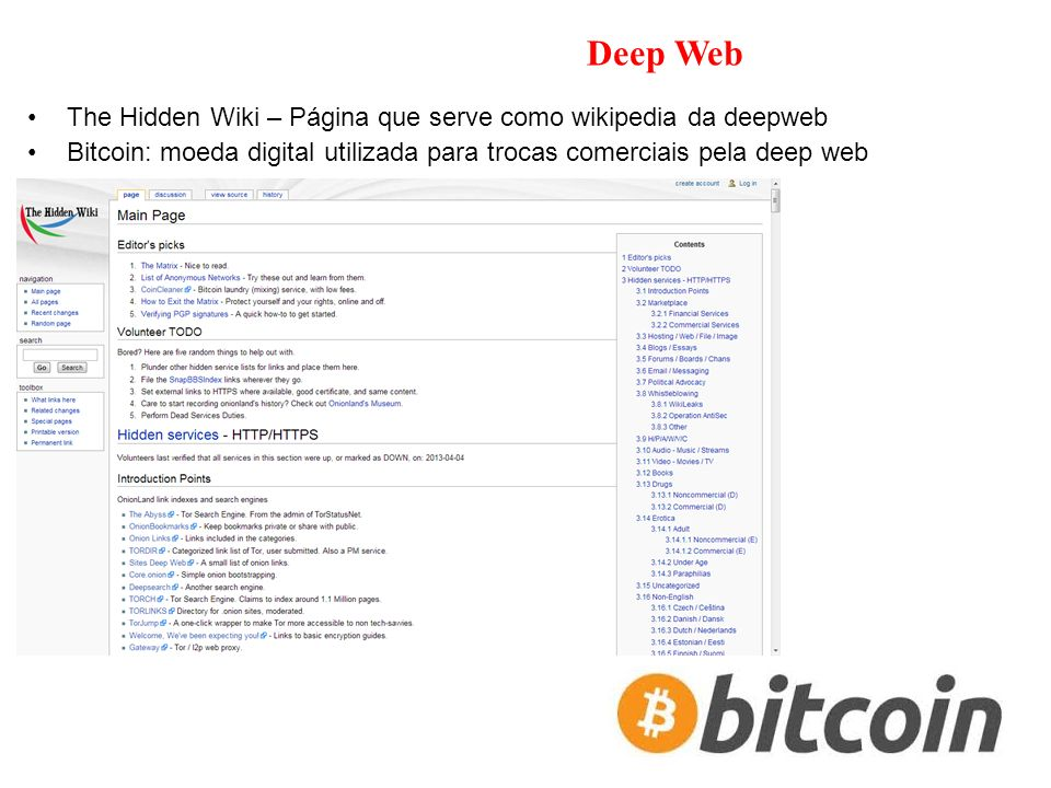 Deep Web The Hidden Wiki – Página que serve como wikipedia da deepweb