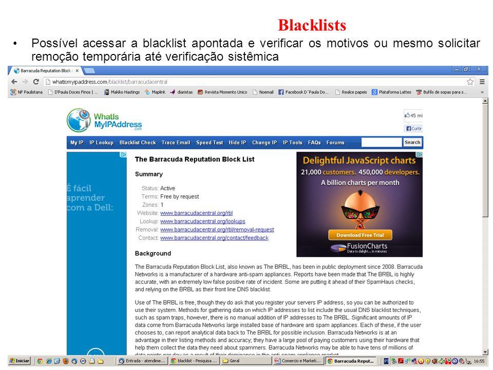 Blacklists Possível acessar a blacklist apontada e verificar os motivos ou mesmo solicitar remoção temporária até verificação sistêmica.