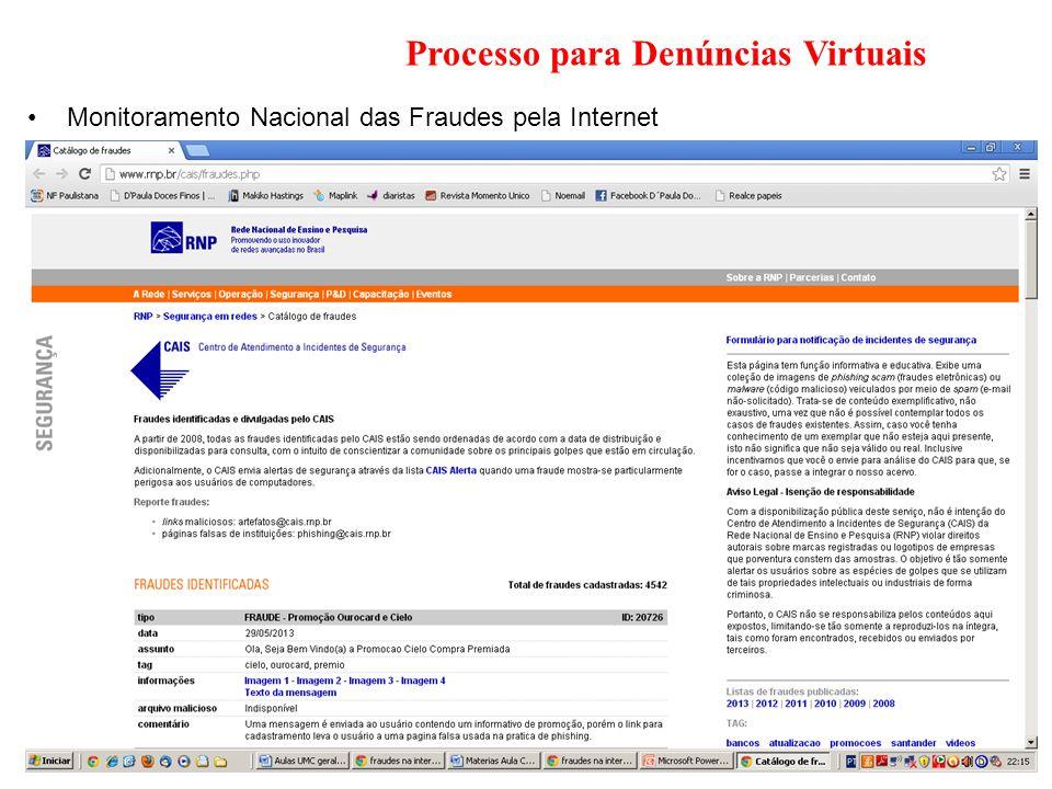 Processo para Denúncias Virtuais
