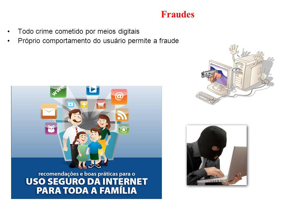 Fraudes Todo crime cometido por meios digitais