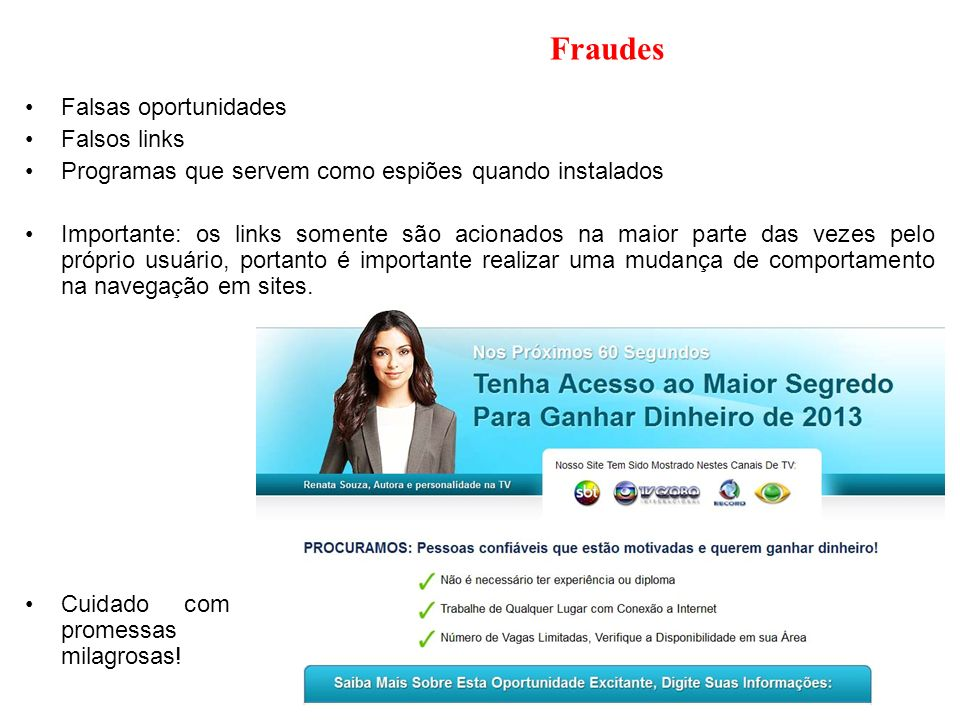 Fraudes Falsas oportunidades Falsos links