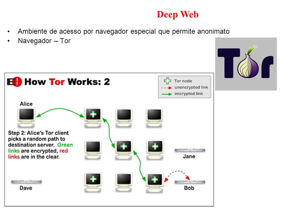 Deep Web Ambiente de acesso por navegador especial que permite anonimato Navegador – Tor