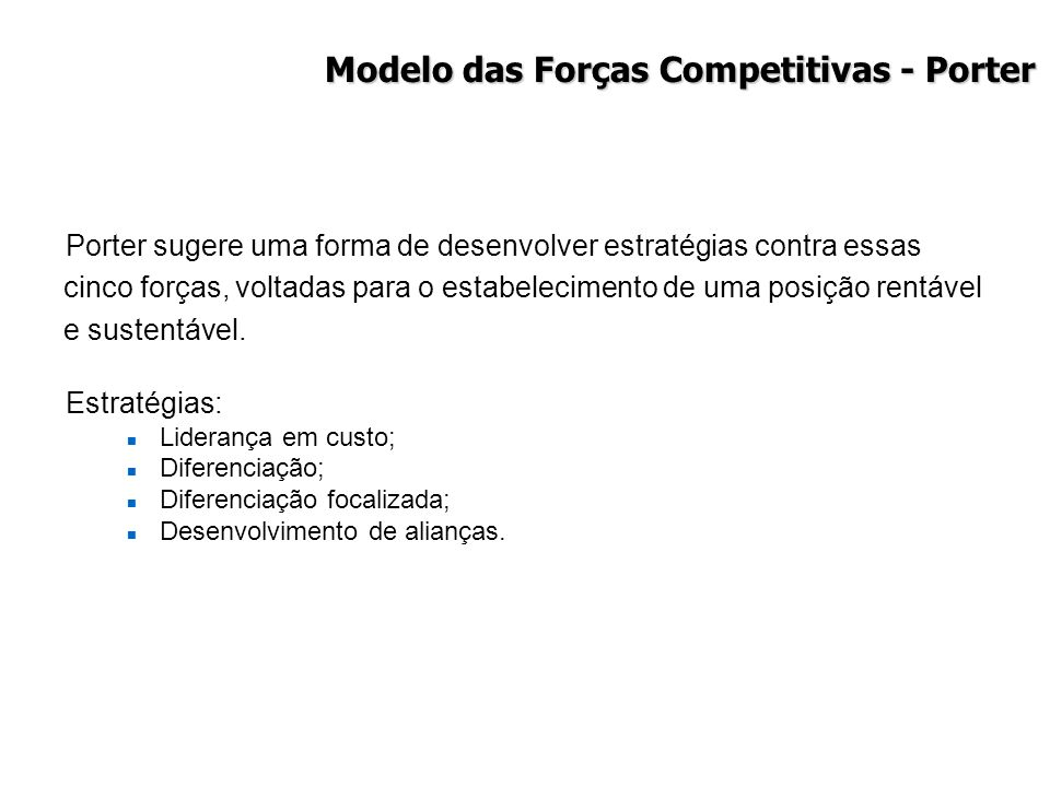 Modelo das Forças Competitivas - Porter