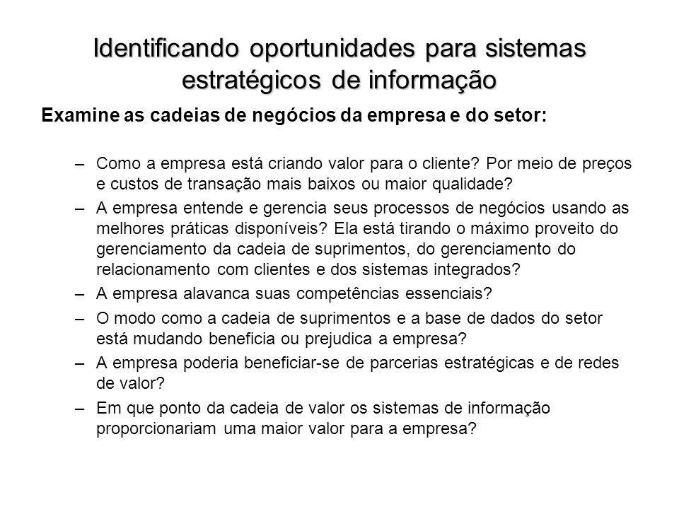 Identificando oportunidades para sistemas estratégicos de informação