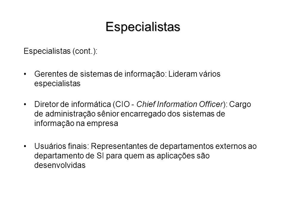 Especialistas Especialistas (cont.):