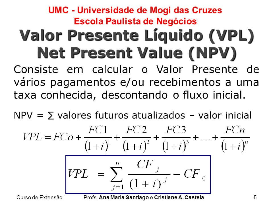 Valor Presente Líquido (VPL) Net Present Value (NPV)