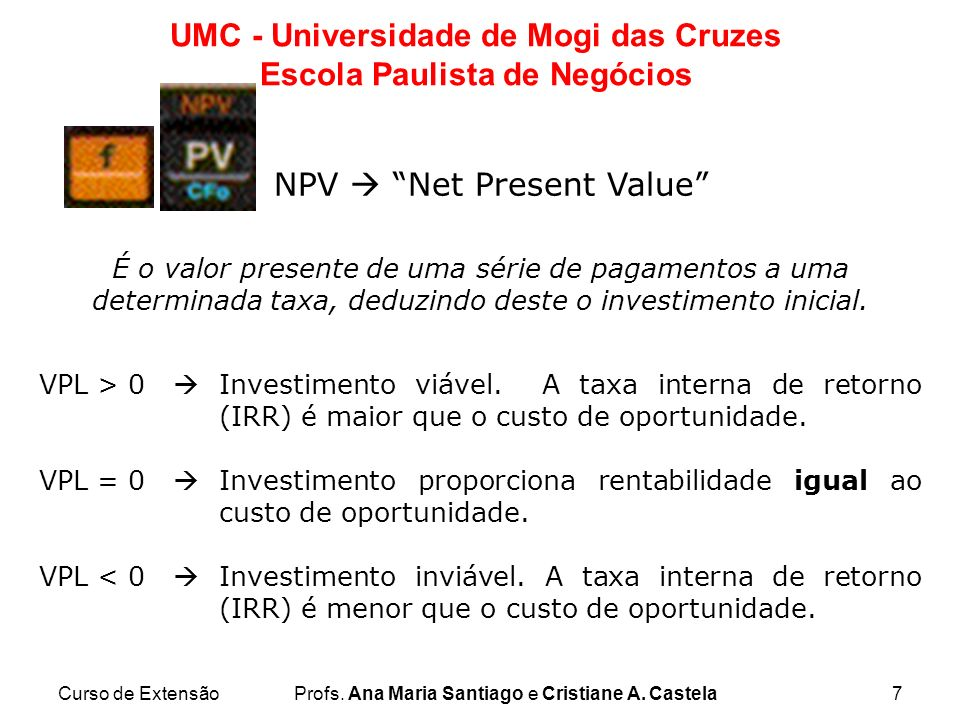 NPV  Net Present Value