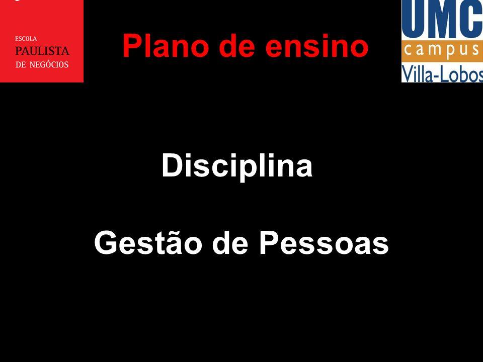 Plano de ensino Disciplina Gestão de Pessoas