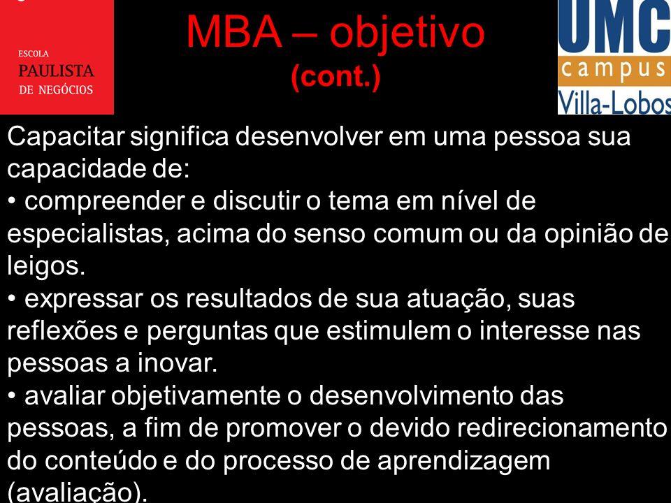 MBA – objetivo (cont.) Capacitar significa desenvolver em uma pessoa sua capacidade de: