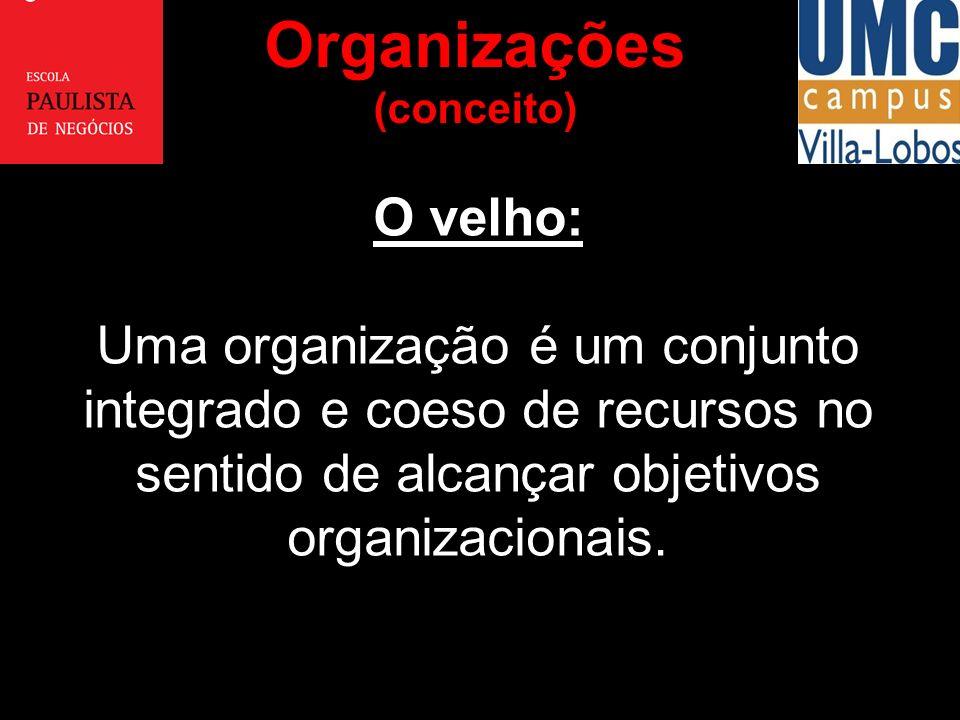 Organizações (conceito) O velho: Uma organização é um conjunto integrado e coeso de recursos no sentido de alcançar objetivos organizacionais.