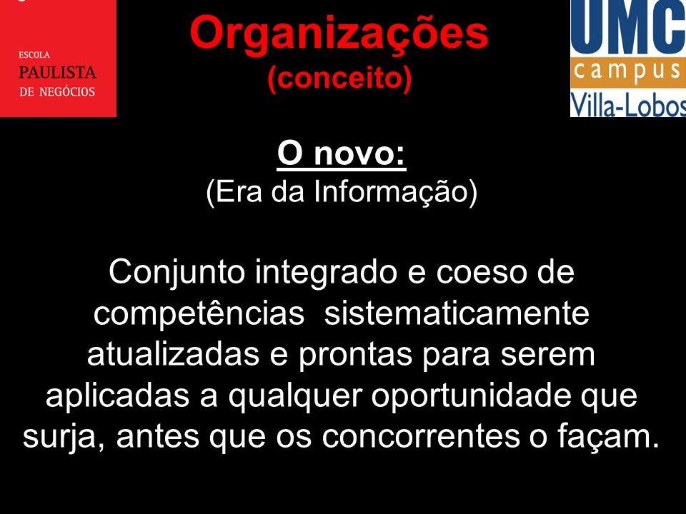Organizações (conceito) O novo: (Era da Informação)