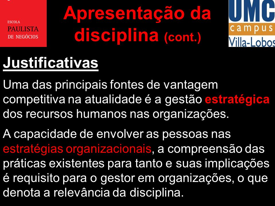 Apresentação da disciplina (cont.)