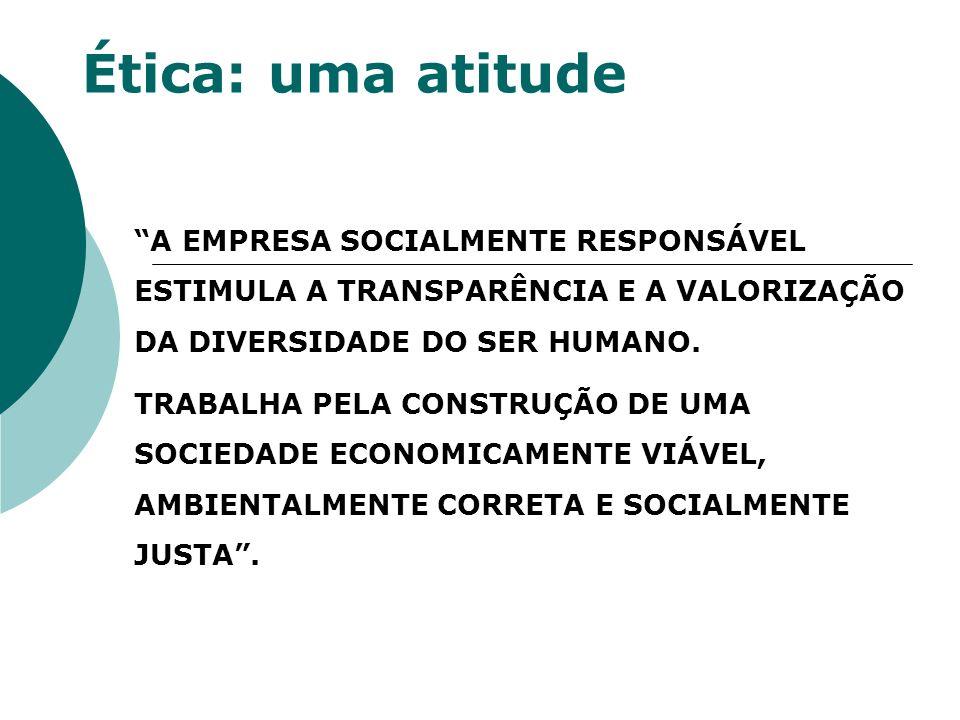 Ética: uma atitude A EMPRESA SOCIALMENTE RESPONSÁVEL ESTIMULA A TRANSPARÊNCIA E A VALORIZAÇÃO DA DIVERSIDADE DO SER HUMANO.