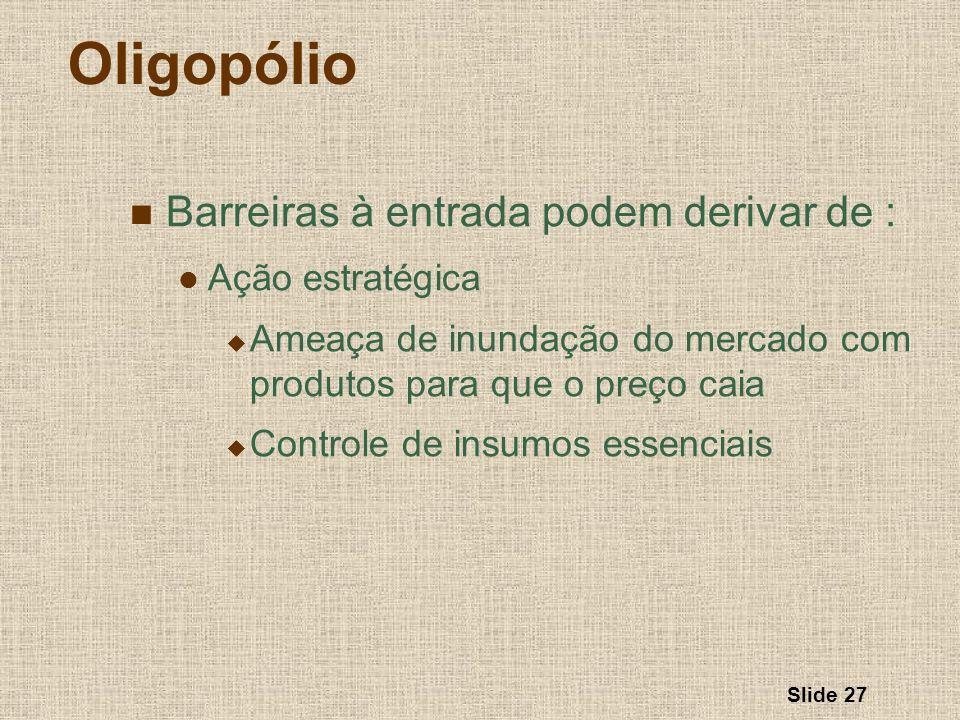 Oligopólio Barreiras à entrada podem derivar de : Ação estratégica