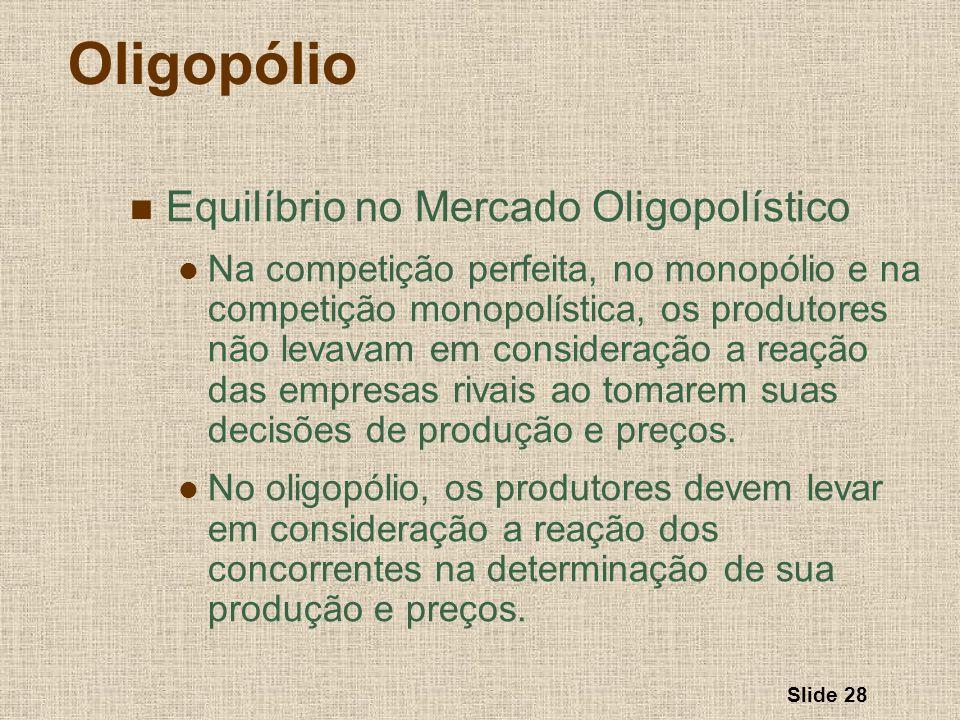 Oligopólio Equilíbrio no Mercado Oligopolístico