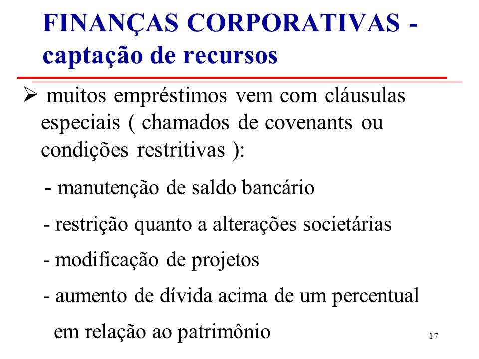 FINANÇAS CORPORATIVAS - captação de recursos