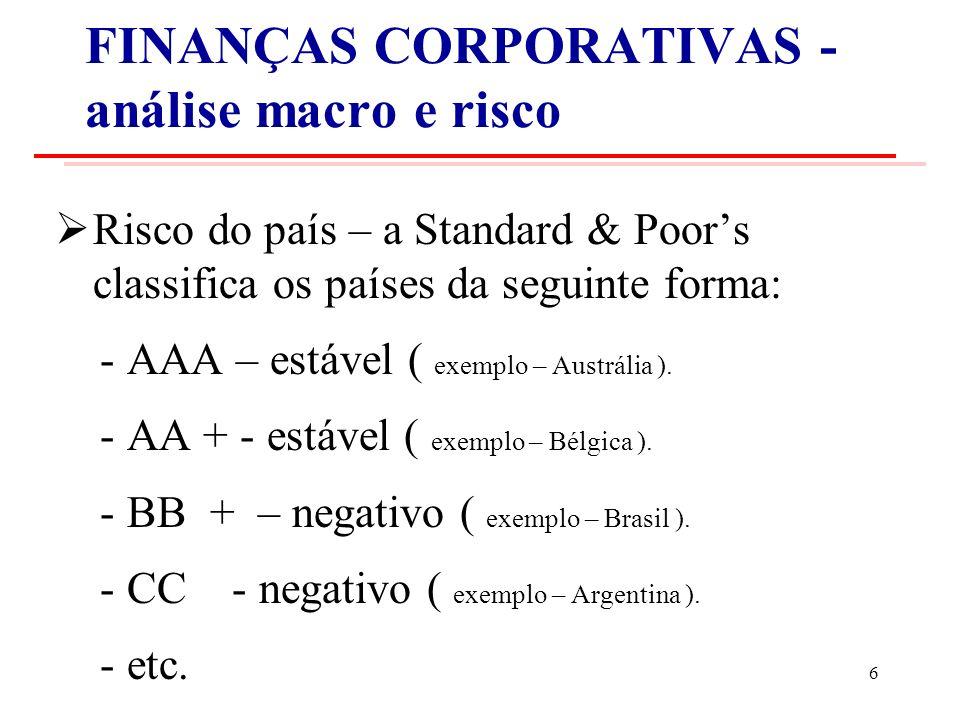 FINANÇAS CORPORATIVAS - análise macro e risco