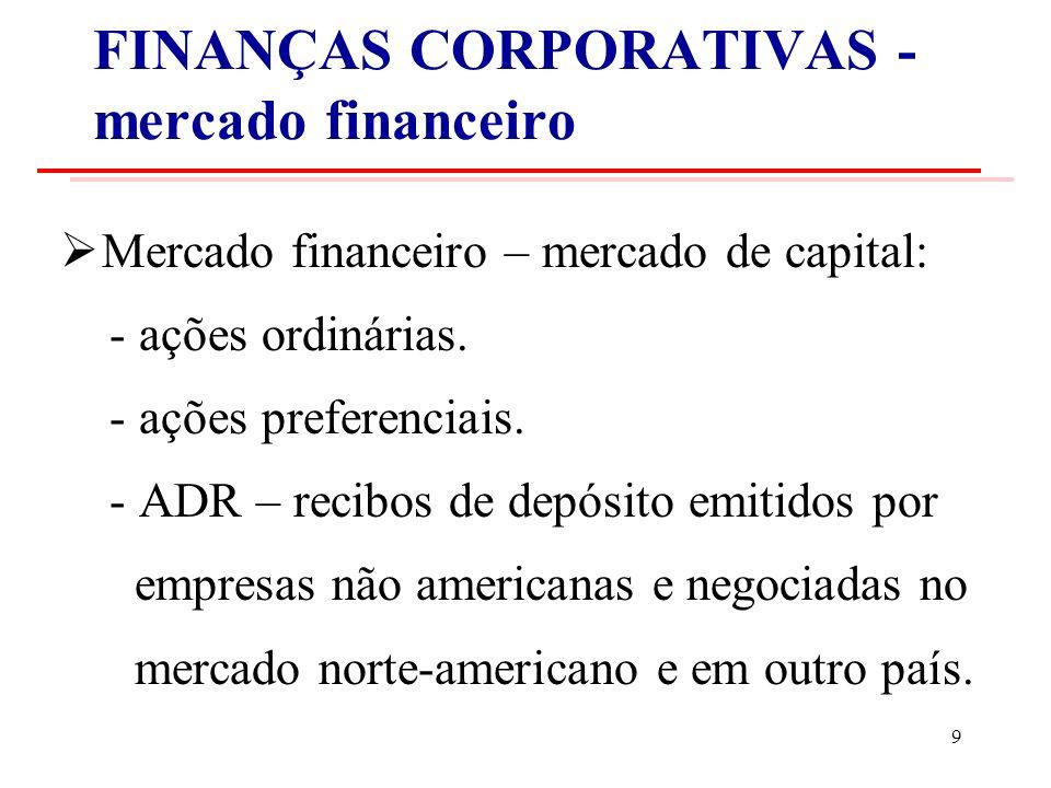 FINANÇAS CORPORATIVAS - mercado financeiro