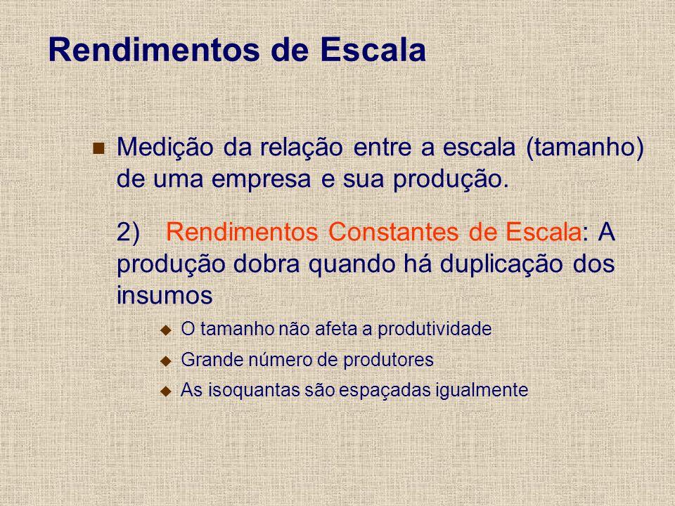 Rendimentos de EscalaMedição da relação entre a escala (tamanho) de uma empresa e sua produção.