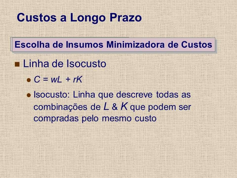 The User Custo of Capital Escolha de Insumos Minimizadora de Custos