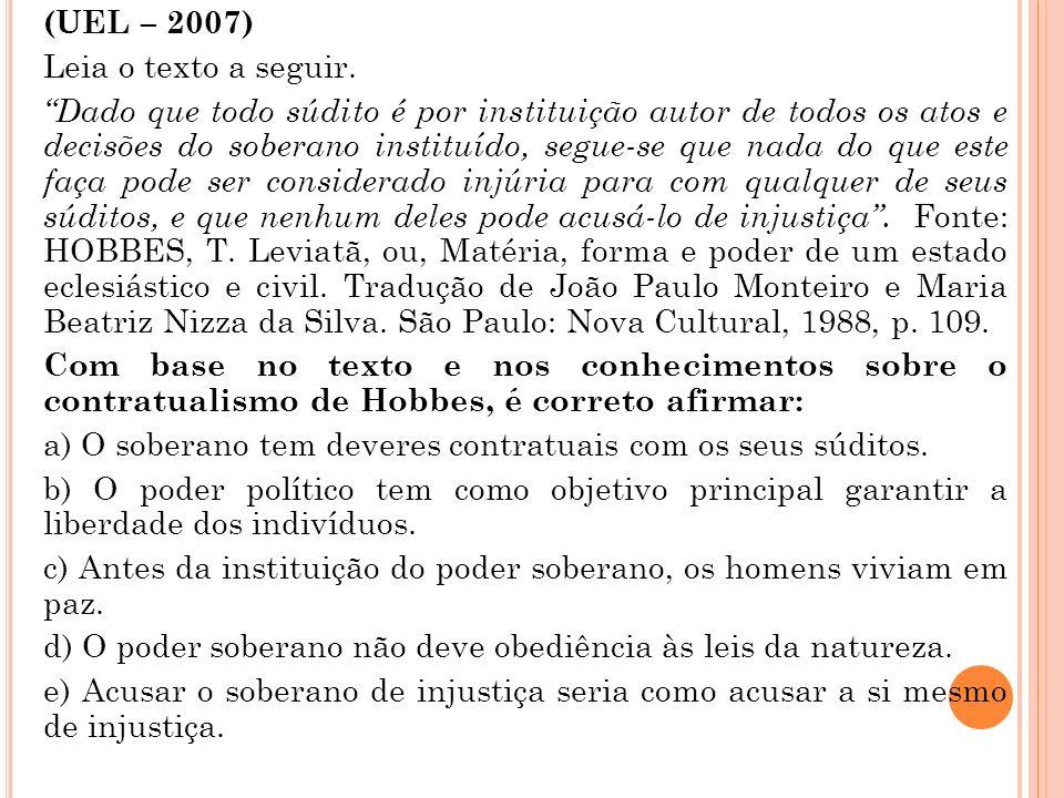 (UEL – 2007) Leia o texto a seguir.