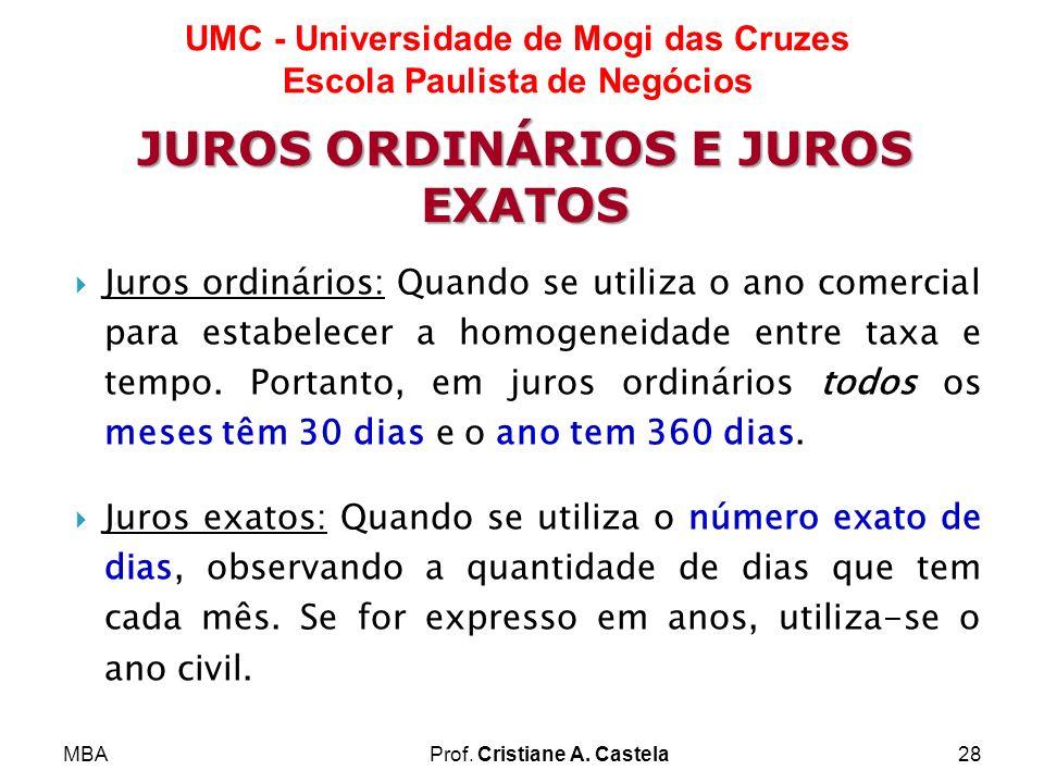 JUROS ORDINÁRIOS E JUROS EXATOS