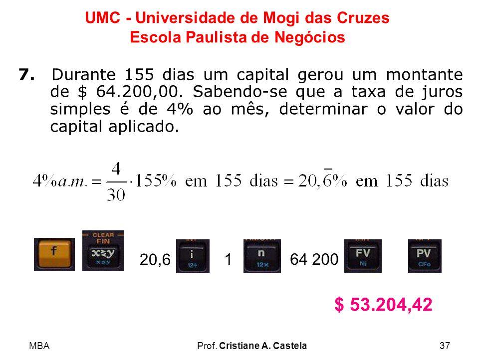 7. Durante 155 dias um capital gerou um montante de $ 64. 200,00